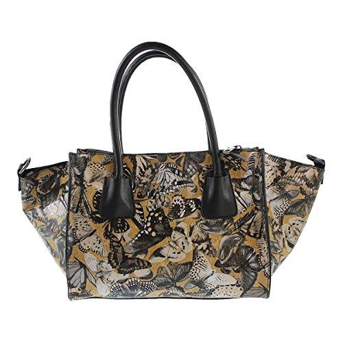 CTM Handtasche der Frau mit Schmetterling-Muster, aus italienischem Leder in Italien mit Griffen und Schultergurt gemacht 29.5x22x17 Cm Leder