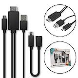 MHL Kabel - Micro-USB auf HDMI-Adapter 5-Pin + 11-pin Adapter für Smartphones und Tablets von zB. Huawei, Sony, Samsung, ZTE mit MHL-Funktion
