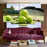 Immagini della Parete della Racchetta di Tennis di Arte della Tela Stampate HD 5 Pezzi per Il Manifesto della Decorazione del Salone