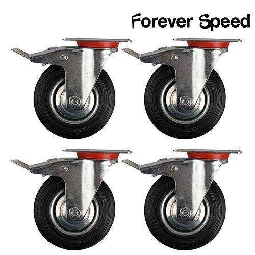 Forever Speed Transportrollen 4 x 75mm Lenkrollen Transportrollen mit Totalfeststeller Schwerlastrollen Tragfähigkeit 150kg/SATZ(75mm-4 x mit Totalfeststeller)