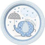 Unique Party Platos de Papel Baby Shower con Elefante, 8 Unidades,...