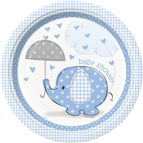 Unique Party 41695 Elefant Baby Dusche Party Teller, Blau, 8 Stück, 21,9 cm