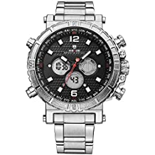 Alienwork Reloj LCD Analógico-Digital sport relojes hombre Multi-función XXL Oversized Metal negro plata WD.WH-6305-1