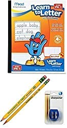Easter Gift - Preschool Writing Skills Bundle - 4 Items: 1 Paper Tablet with Raised Lines, 2 Triangular-Barrel Pencils in Different Sizes, 1 Coordinating Pencil Sharpener