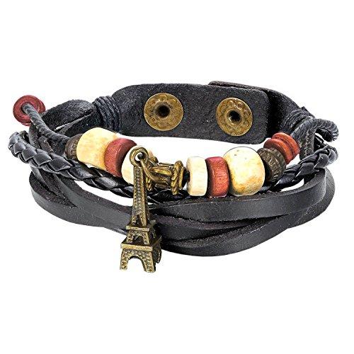 (Armband für Herren Damen | Schwarz Leder Surferarmband | Lederarmband mit Eiffelturm Anhänger Holz Perlen | Verstellbar Biker Band | Armreif Schmuck| Surfer Holzarmband)