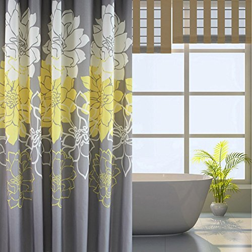 S ZONE Yellow Peony Water Proof Mildew Proof Bathroom Polyester Fabric  Shower Curtain 72x78 Inch With 12 Hooks