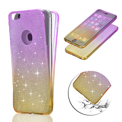 iPhone 7 Coque Gel TPU Silicone Etui Intégrale Transparent Case pour iPhone 7 / iPhone 8 4.7 Pouces Housse Protection Full Silicone Souple Case,Vandot iPhone 7 / iPhone 8 Ultra Mince Fine Slim Leger T Glitter - Pourpre+Jaune