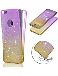 Coque iPhone 5S Changement Graduel TPU Coque, Vandot Bling Glitter Paillette Etui pour iPhone 5 5S SE 360 Degrees Double Protection Case Ultra Mince Transparent Silicone Housse pour iPhone 5 Coque de Protection avec Absorption de Choc Bumper et Anti-Scratch Hull Couverture - Pourpre+Jaune