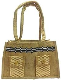 Medium Size Stylish Eco-friendly Jute Small Handbag Tote Bag With Zippered Closure Cotton Webbed Handles