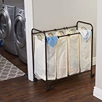 Household Essentials 7173 Rolling Quad Laundry Sorter with Removable Hamper Bags | Antique Bronze Frame