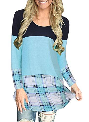 Donna Elegante Casuale Rotondo Collo Manica Lunga A-Line Pullover Vestito T-shirt Abito Beach Vestiti Shirts Blu