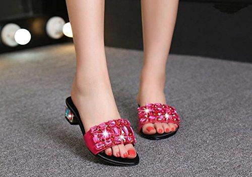BaiLing Damen Sommer Pantoffeln / Mid Heel offene Zehe / Strass kleine Größe weibliche Sandalen Schuhe rose red