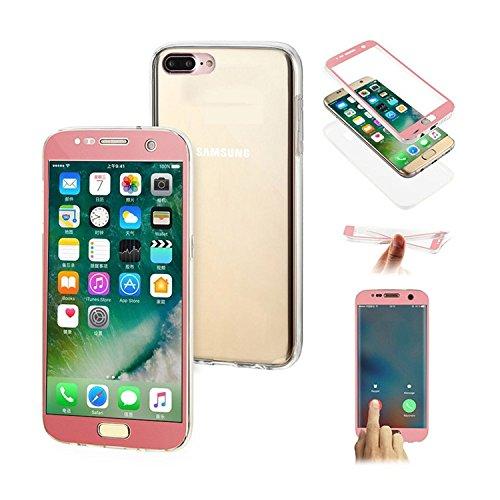 Transparent Coque iPhone 7 Plus,TPU Silicone Coque iPhone 7 Plus,MingKun Téléphone Couverture Case Cover pour iPhone 7 Plus 5.5 Pouces Etui Écran Tactile et Tous les aspects de la protection et Complè TPU Transparent-Rose Or