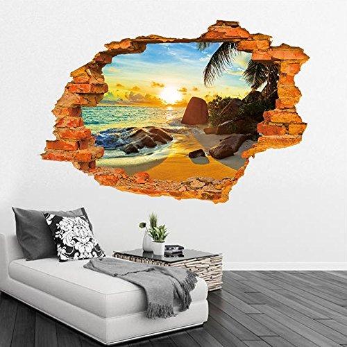 Winhappyhome Sommer Strand Art 3D Stereo Brick Wand Aufkleber FüR Schlafzimmer Wohnzimmer Sofa Fernsehhintergrund Aufkleber Ausgangsdekor Wand Removable Tapete Abziehbilder (Strand-wand-abziehbilder Für Kinderzimmer)