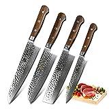 XINZUO Set Cuchillo Cocina 4 Piezas Damasco Japonés 67 Capas Profesional Cuchillo Chef 21cm Cuchillo Santoku 18cm Cuchillo Nakiri 18cm Cuchillo Uso 15cm con Rosewood Mango - Yun Serie