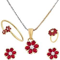 M CREATION American Diamond Ruby Combo Of Pendant Set,Bracelet,Ring,Chain With Earring For Women/Girls