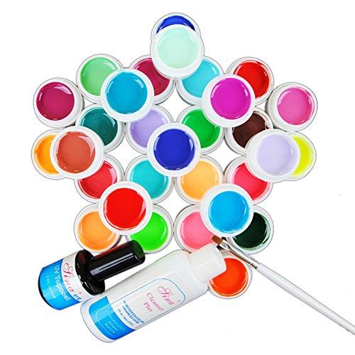 Mode Galerie 30 Nouveaux Couleurs Pure UV Gel Ongles Art Décor Cleanser Plus Top Coat Brosse
