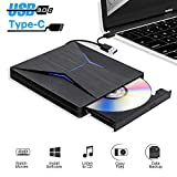 Lecteur DVD Externe USB 3.0 Graveur CD/DVD Externe,Portable USB C CD DVD +/-RW ROM Player Compatible Windows 10/8 /7, Mac,MacBook Air/Pro, PC, Laptop,Desktops