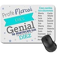 Alfombrilla para ratón Personalizada con nombres para Profesor (Hombre) - Colegio Instituto Primaria Secundaria - Regalos Originales para Profesores y Maestros