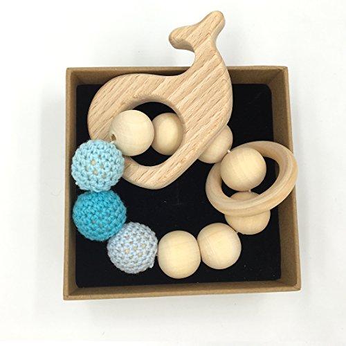 Coskiss Bracciale Bambino Massaggiagengive legno Amigurumi Ecologico Bambino di dentizione Giocattoli Chew braccialetto a forma di Rattle regalo di Natale (Colore 2)