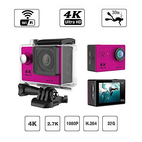 DZSM 4K-WiFi-Action-Kamera Full HD 1080P Waterproof Cam 2-Zoll-LCD-Bildschirm 98ft 170° Weitwinkel-Sportkamera mit wiederaufladbaren 1050mAh-Akkus und 20 Montagezubehör-Kits, Pink