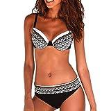 Maillot de Bain 2 Pièce Femme,Monokini sans Bretelle, Beachwear Ligoté Creux...