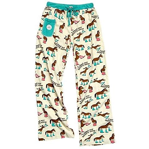Lazy One Animal World - Horse Booty Sleep Juniors Sleep Pants - Medium Off-White