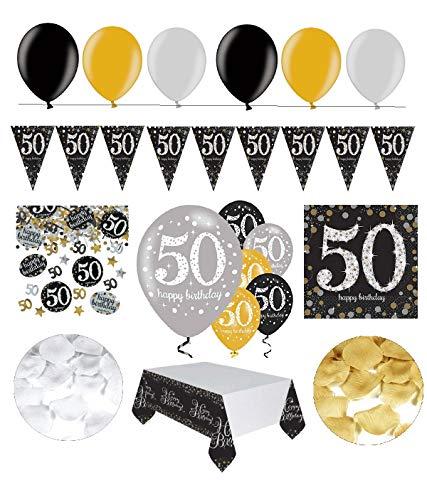 Feste Feiern Geburtstagsdeko 50. Geburtstag   31 Teile Deko-Set Luftballon Wimpel Girlande Konfetti Serviette Tischdecke Gold Schwarz Silber metallic Party-Set