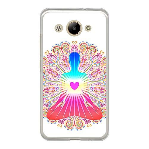 BJJ SHOP Transparent Hülle für [ Huawei Y3 2017 ], Flexible Silikonhülle, Design: Chakra Kunst, Buddhismus, innerer Frieden