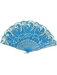 Patrón de fiesta de la boda las mujeres la danza del brillo floral mano plegable azul Ventilador