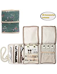 Teamoy Jewellery Roll, Travel Jewellery Organiser for Necklaces, Earrings, Bracelets, Brooches and more, Jewellery Wrap with Various Departments (NO Accessories Included), Plum Flowers