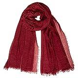 Caspar SC503 Damen XL Vintage Schal mit kleinen Fransen, Farbe:weinrot, Größe:Einheitsgröße