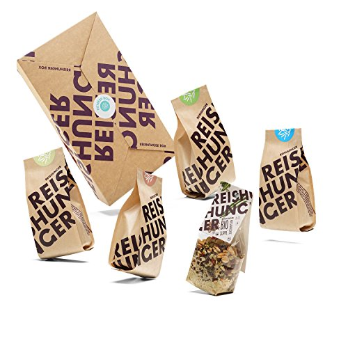 Reishunger Bio Fitness Box – 5 verschiedene Reis- und Getreidesorten für Sportler – Perfekt als Geschenk (200 g/150 g)