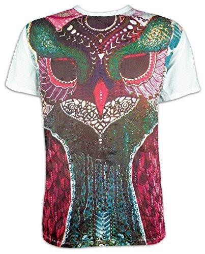 Sure Camiseta Hombre Tótem de Búho Talla M L XL Espíritu Natural Budismo Indios (M, Blanco)