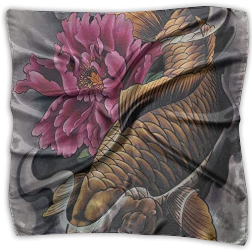 Koi Tattoo Art Fashion Women Floral Printed Lady Quadratischer Schal Head Wrap Kerchief Neck Satin Shawl -