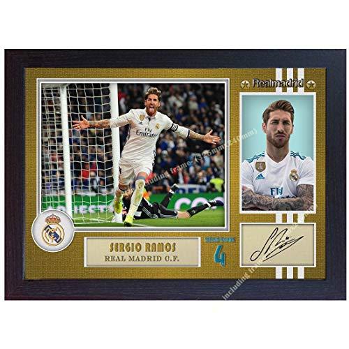 SGH SERVICES Fotodruck/Poster, gerahmt, Motiv Sergio Ramos Real Madrid, signiert, Fußball, unvergesslicher Rahmen, MDF-Bild, 6