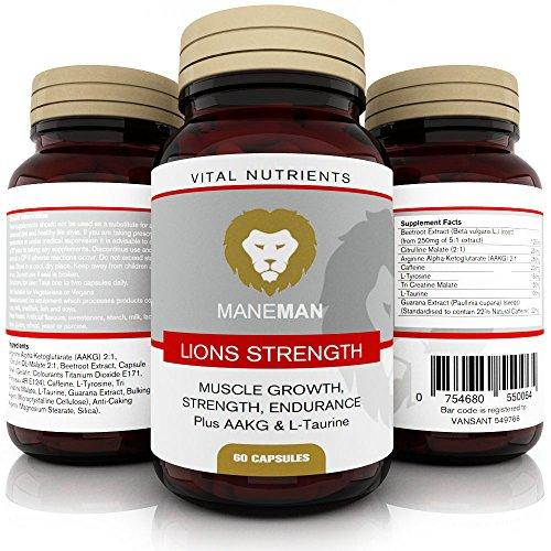 Les suppléments de pré-entraînement de Lions Strength - 60 capsules pour une incroyable poussée d'entraînement - 8 ingrédients de la plus haute résistance incluant AAKG, L-tyrosine, L-Taurine - Combinaison ultime pour aider à augmenter la force, l'endurance et la croissance musculaire