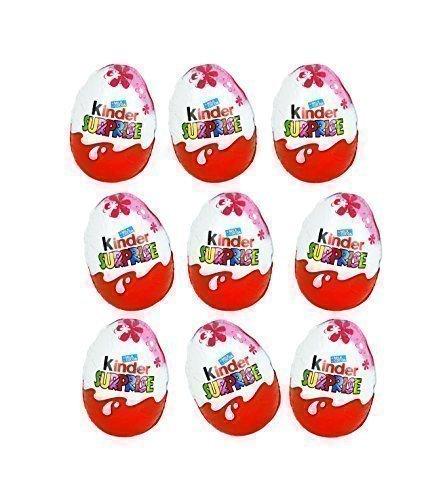 Kinder sorpresa disney princess cioccolato uova, con il giocattolo all'interno [confezione da 9]
