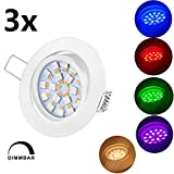 TEVEA® Ultra Flach LED RGBW Einbaustrahler - Lampe mit Fernbedienung - Partylicht - Partyleuchte - Dimmbar Warmweiß - Einbauleuchte - Einbauspot (Weiss)