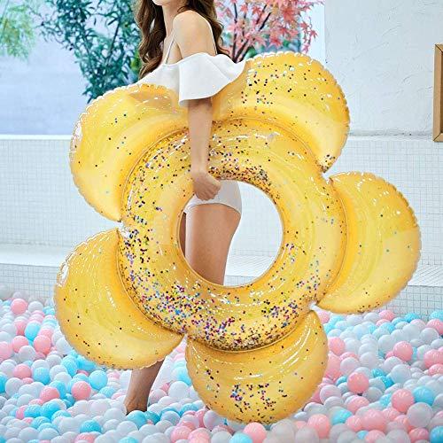Schwimmring, strapazierfähige Luftmatratze,Aufblasbare Blume (Gold) ()