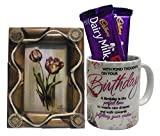 #2: Saugat Traders Birthday Gifts Combo Of Wooden Photo Frame & Birthday Coffee Mug With Chocolate | Gift for Boyfriend, Girlfriend, Brother, Sister