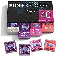 Durex Preservativos Fun Explosion Mixtos Sabor Fresa, Dame Placer, Sensitivo Suave y Contacto Total - 40 Condones