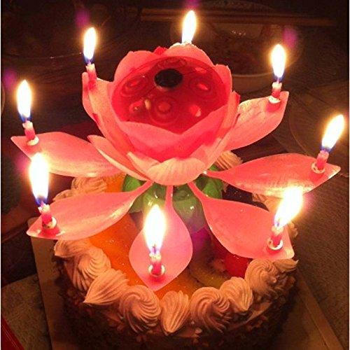 SOLMORE Musical Bougie en Lotus Forme Lampe de Décoration pour Anniversaire,Fête,Soirée,Cadeau pour Ami/Famille/Parent/Enfant