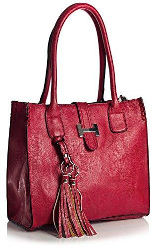 Borsa a mano da donna, in similpelle, dimensioni medie, con astuccio per il make up Rosso (rosso)