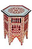 Marokkanischer Tisch Beistelltisch aus Holz Bidhan Rot ø 45cm rund | Orientalischer runder Hocker Blumenhocker klein für Ihre Wohnzimmer oder Küche | Orientalische Beistelltische als Dekoration