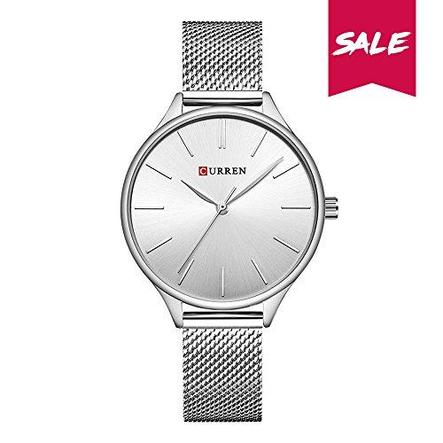 CURREN Damen Quartz Uhr,Ultra Dünne Analoge Quarz Edelstahl Armbanduhr,Einfache Casual Armbanduhr für Frauen 9024 (Silber)