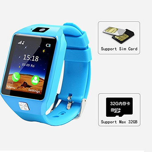 Kids Smart Watch per Bambini, GPS Fitness Tracker Smartwatch Chiamata SOS Anti-Perso monitoraggio del Sonno contapassi Bluetooth Intelligente Braccialetto per Android e iOS, Blue, Taglia Libera