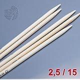 LANA GROSSA Nadelspiel Bambus, Länge 15 cm / Stärke 2.5