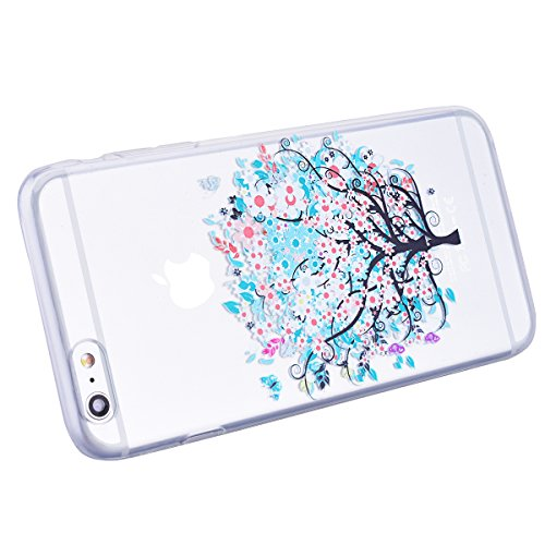 VertTek Coque iPhone 6, Etui iPhone 6S (4.7 pouce) Étui TPU Silicone Motif Simple Gel Souple Clair Transparente Coque de Protection Case Ultra Mince Back Cover Soft Case Anti Rayures Cover Swag - Loup Arbre Floral