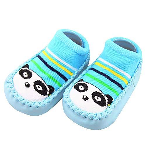 Missoul Born Toddler Baby Girls Boys Anti-Slip Socks Slipper Boots (Blue-02)
